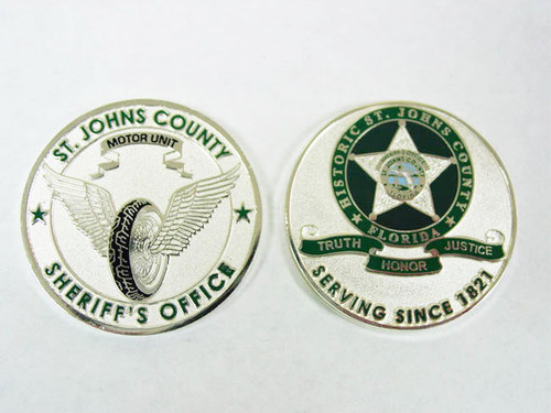 St. Johns County Sheriff's Office Motorcycle Coin SILVER