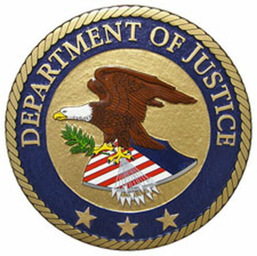 United States Department of Justice - Plaque w/Stars (All sizes)