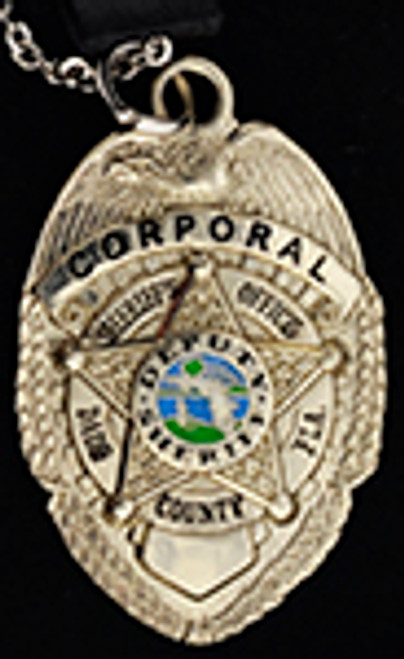 DADE COUNTY SHERIFF'S DEPARTMENT CORPORAL BADGE CHARM, CHAIN