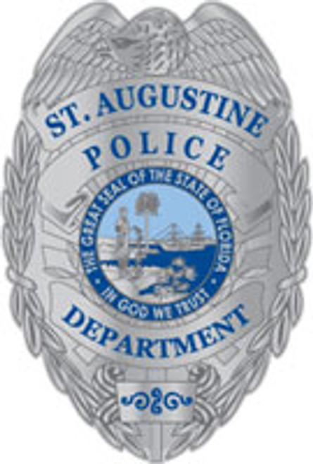St. Augustine Police Silver Badge Plaque