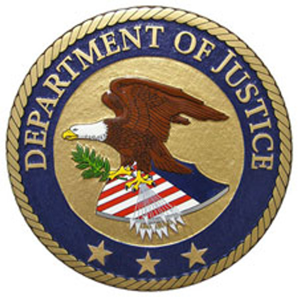United States Department of Justice - Plaque w/Stars