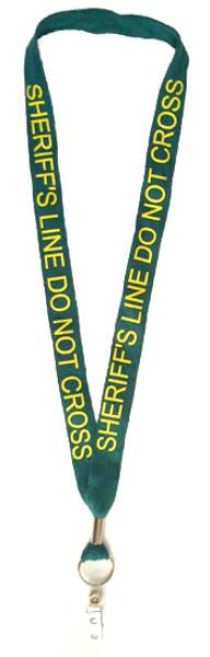 Green 'Sheriff Line Do Not Cross' Lanyard