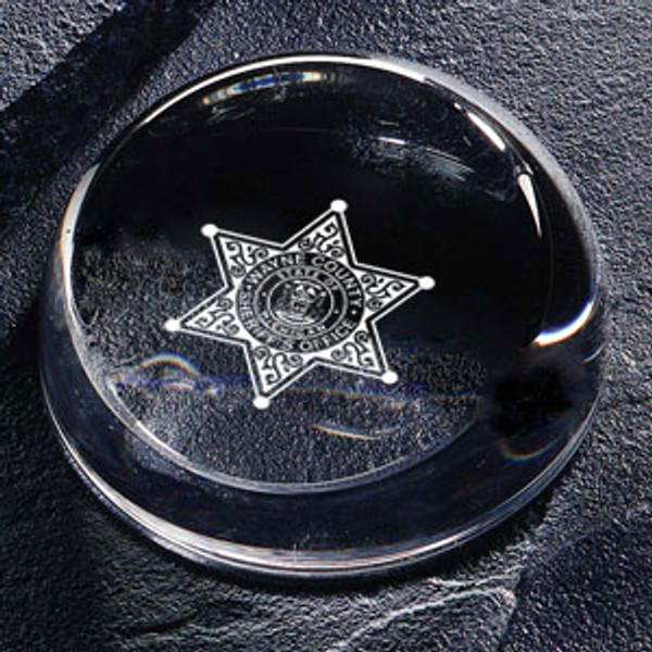 Wayne County Sheriff's Office Insignia Paperweight #351 - 24% Full-lead Crystal