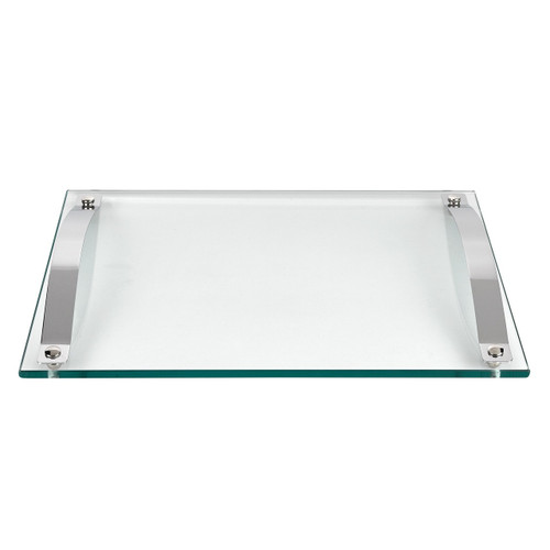 "Badash 12.5"" Contempo Glass Serving Tray with Chrome Handles (T751)"