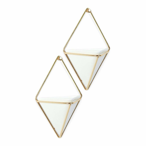Umbra Trigg Small Wall Vessel, White/Brass