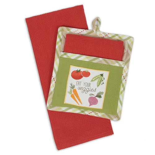 Design Imports Eat Your Veggies Potholder Gift Set
