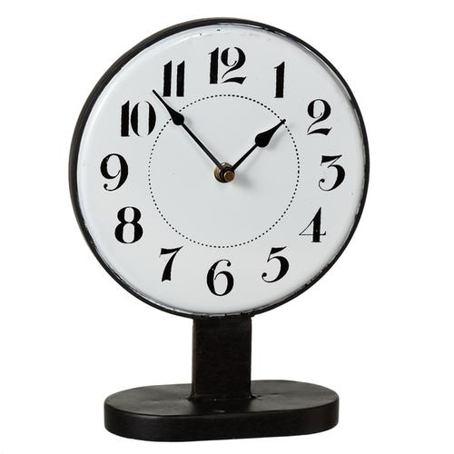 Midwest CBK Black & White Round Desk Clock