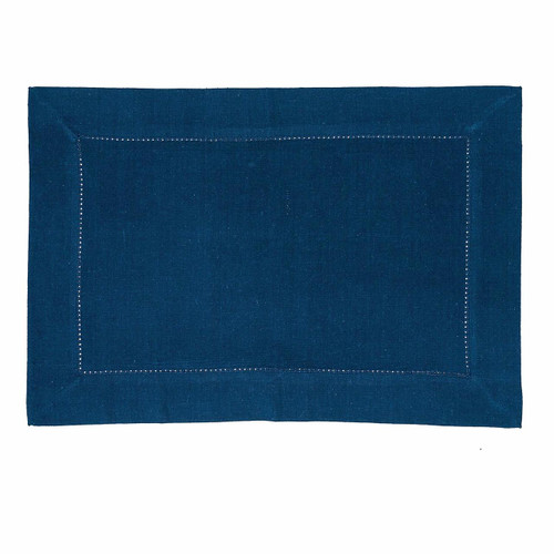 "C&F - 14"" x 20"" Hemstitch Navy Placemat, Set of 4 (842621786N)"