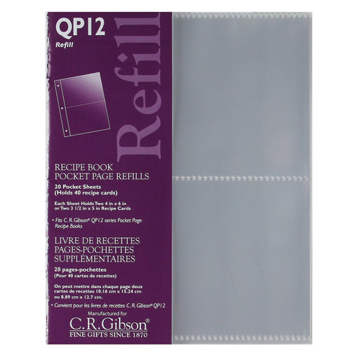 C.R. Gibson QP12 Pocket Page Recipe Book Refills