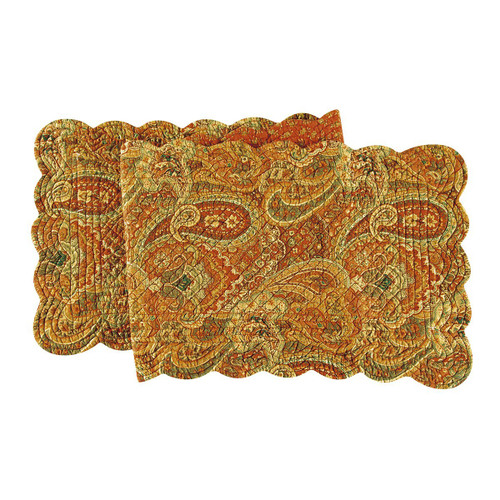 """C&F - 14"""" x 51"""" Quilted Reversible Table Runner, Tangiers"""