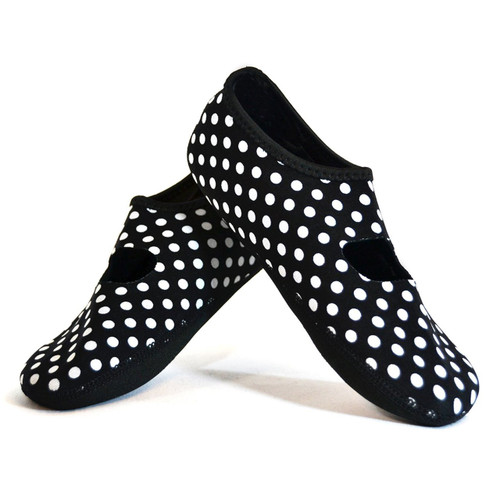 NuFoot Mary Janes Women's Shoes, Black/White Polka Dot, X-Large (1139)