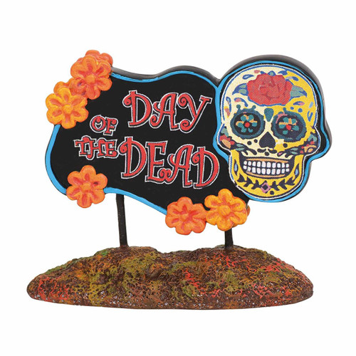 Department 56 Accessories for Village Collections Halloween Day of The Dead Sign Figurine 1.75""
