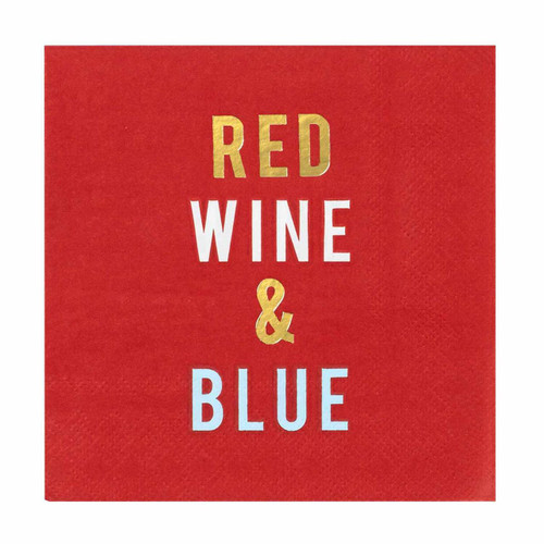 C.R. Gibson Paper Beverage Napkins, Red Wine & Blue