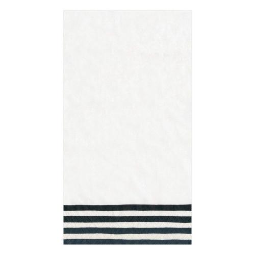 Caspari Paper Guest Towel Napkins, Border Stripe Black & White (9000G)