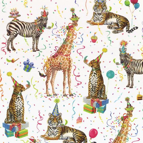 Caspari 5' Continuous Gift Wrap Roll, Party Animals (8911RSC)