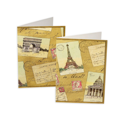Caspari Boxed Note Cards, French Postcards, Box of 8 (83622.46)