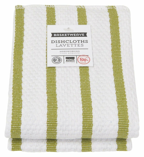 Now Designs Basketweave Dishcloths, Cactus Green, Set of 2