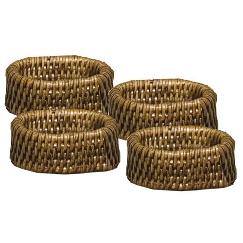 Caspari Rattan Napkin Rings, Set of 4 (HN01)