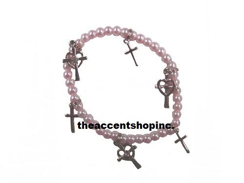 Alexa's Angels Children Pearl Bracelet, Pink