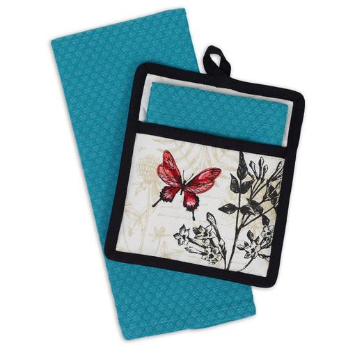 Design Imports Botanical Blooms Potholder Gift Set