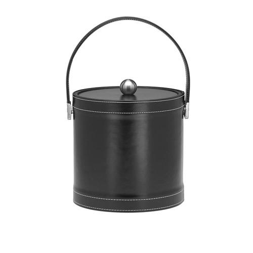 Kraftware 3 Quart Ice Bucket, Leatherette, Black