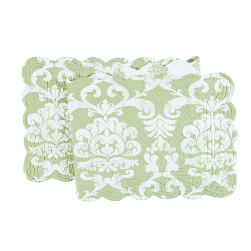 "C&F Enterprises 14"" x 51"" Quilted Providence Tablerunner, Green"