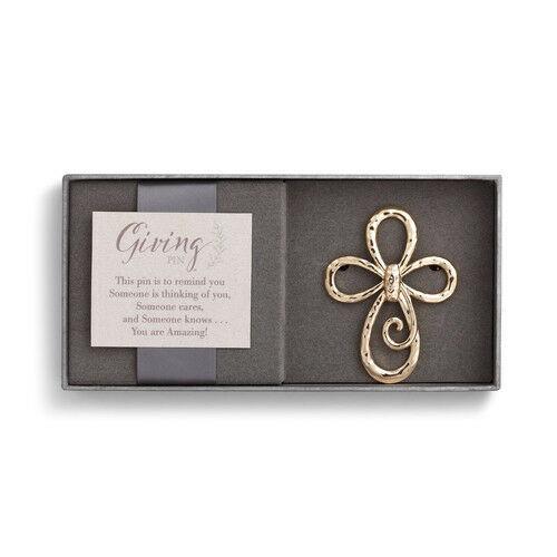 Demdaco Gold Cross Giving Pin
