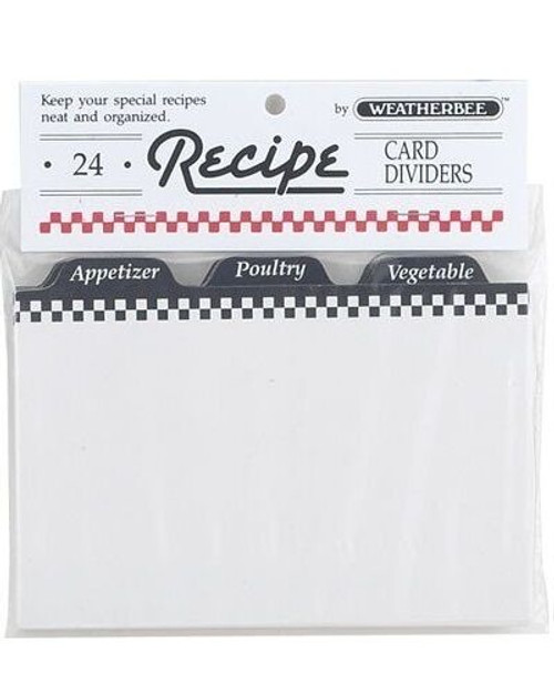 HIC Weatherbee Recipe Cards Dividers, 3 x 5, Set of 24