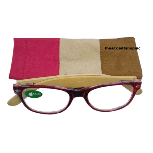 ICU Reading Glasses, Red Front with Tri-Tone Temples, 1.75