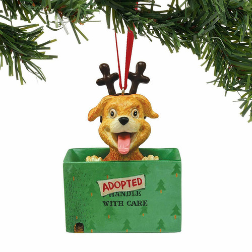 Enesco Adopted for Christmas Dog Ornament