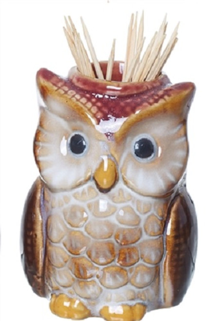 Transpac Imports Owl Tooth Pick Holder, Red