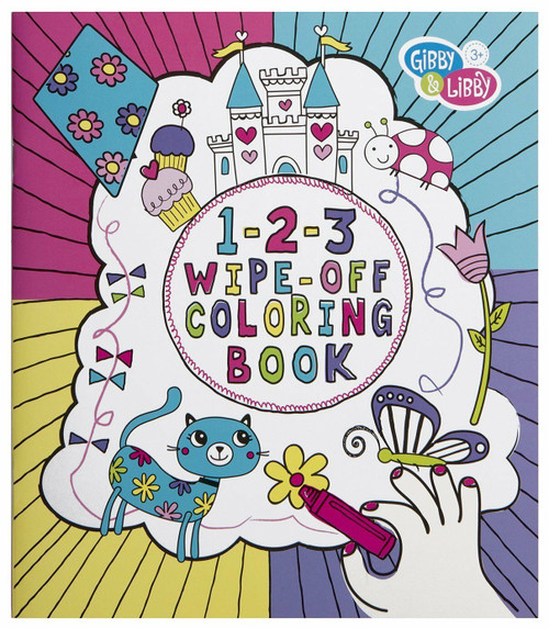 C.R. Gibson 1-2-3 Wipe-Off Coloring Book, Girls