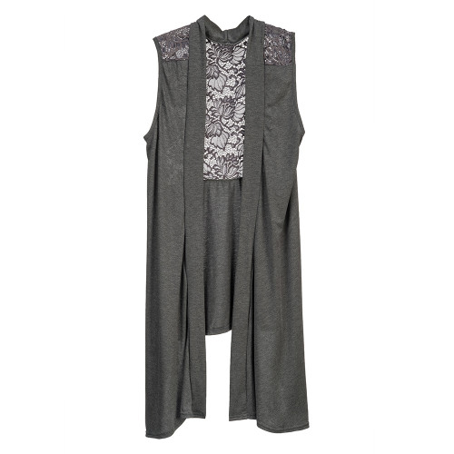 Howard's Jewelry Vest Lace Back, Grey