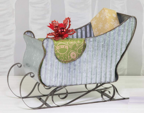 Hanna's Handiwork Rippled Galvanized Metal Sleigh, Large