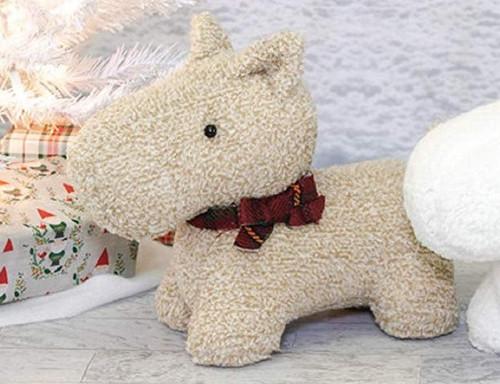 Hanna's Handiworks Christmas Pup Figure, Scottie, Brown
