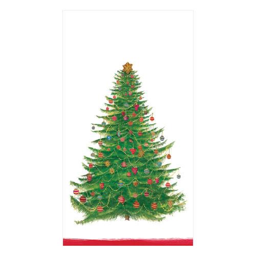 Caspari Paper Guest Towel Napkins, Glittering Tree White (14710G)