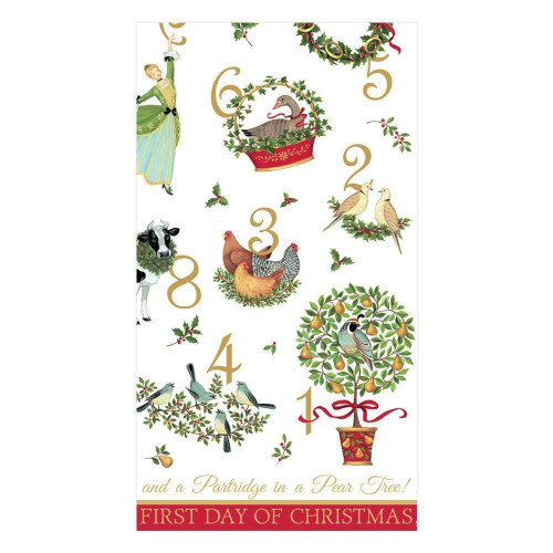 Caspari Paper Guest Towel Napkins, On the 12th Day (15430G)