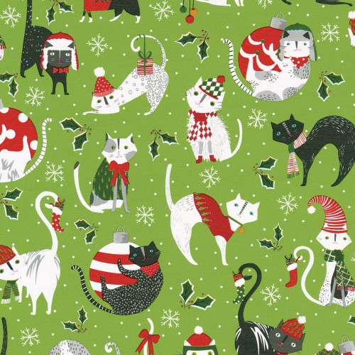 Caspari 8' Continuous High-Gloss Gift Wrap Roll, Yule Cats (9704RC)