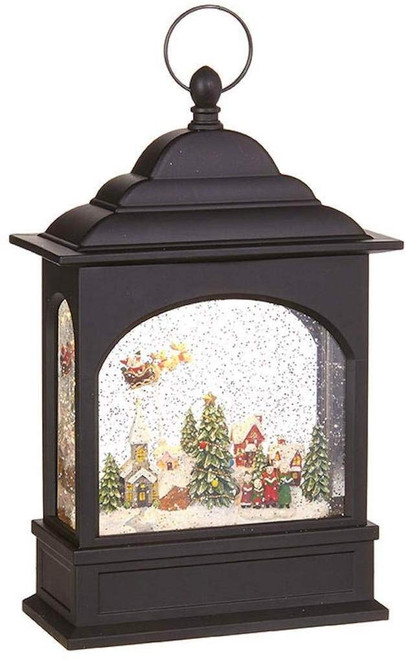 "Raz Imports 11"" Lighted Water Lantern, Flying Santa"