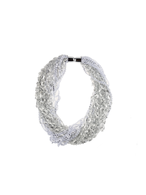 Ganz Tinsel Magnetic Scarf, Silver/White