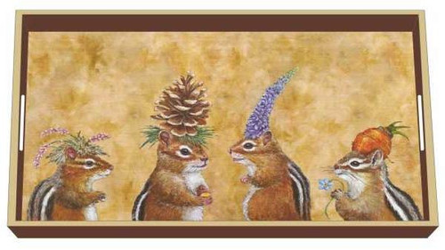 Paperproducts Design Lacquered Wood Vanity Tray, Chipmunk Social