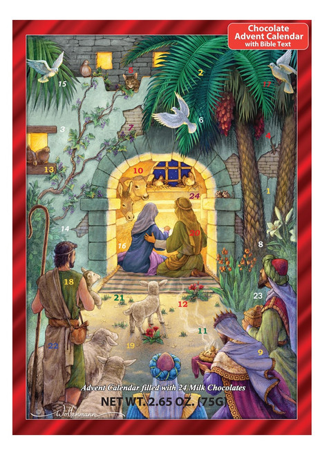 Vermont Christmas Company Chocolate Advent Calendar, Peaceful Nativity, 3-Pack