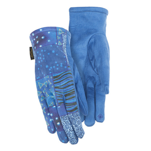 Howard's Suede Gloves, Blue Patchwork