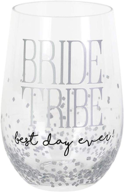 "Enesco Our Name Is Mud Stemless Wine Glass, ""Bride Tribe"""