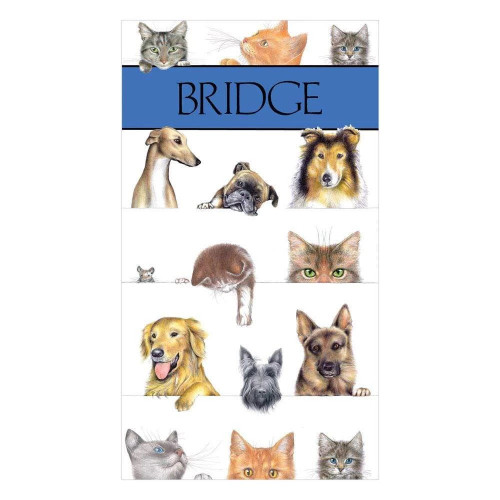 Caspari Bridge Score Pad, Dogs and Cats (SP119)