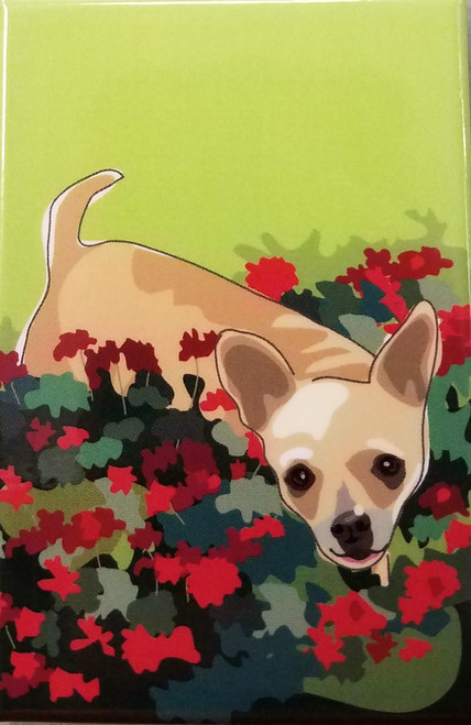 Paper Russells Fridge Magnet - Chihuahua in Flowers