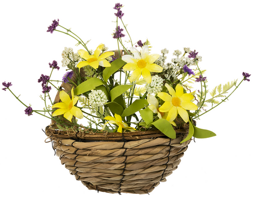 Ganz Spring Flowers In A Basket, Yellow