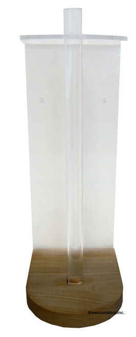Clear Solutions Paper Towel Holder, Vertical with Wood Base