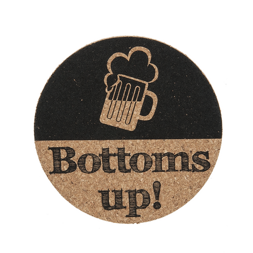 "Ganz ""Bottoms Up!"" Cork Coaster"