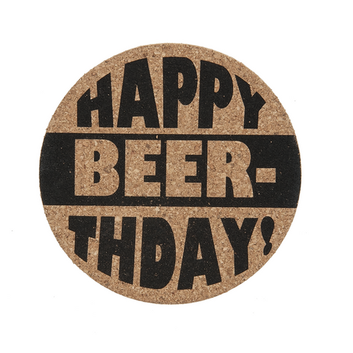 "Ganz ""Happy Beer-thday!"" Cork Coaster"